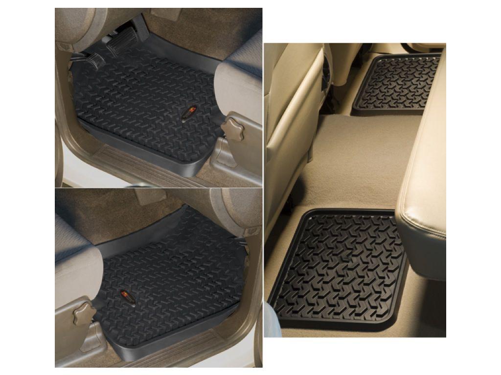 Rugged Ridge 12987.03 Floor Liners Kit Black For 2-Door 07-18 Jeep Wrangler JK