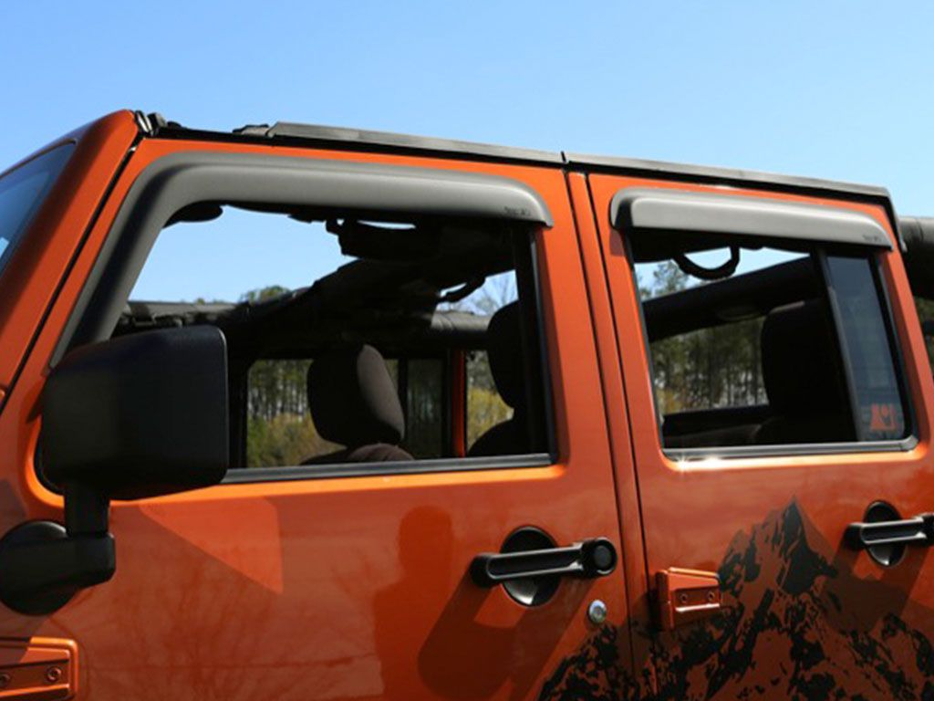 Rugged Ridge 11349.12 Tape On Window Rain Deflectors For 07-18 Jeep Wrangler